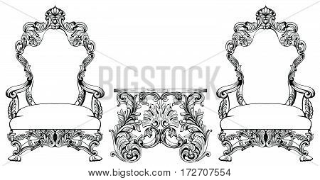 Rich Baroque Rococo armchair and table set. French Luxury carved ornaments furniture. Vector Victorian exquisite Style decorated wooden structure frame