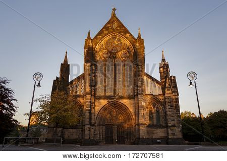 Hi Res panorama of Glasgow Cathedral at sunset