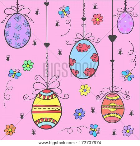 Doodle of easter egg colorful style vector flat