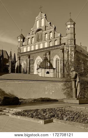 St Anne's and Bernardinu church in Vilnius, Lithuania. Sepia toned photo.