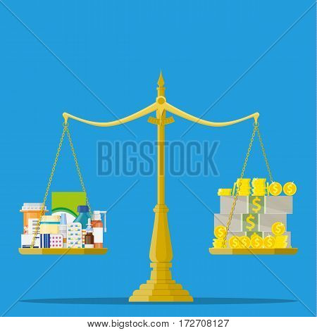 Scales with Medicine bottle, pills and money. Healthcare expenses with balance scales concept. Vector illustration in flat style