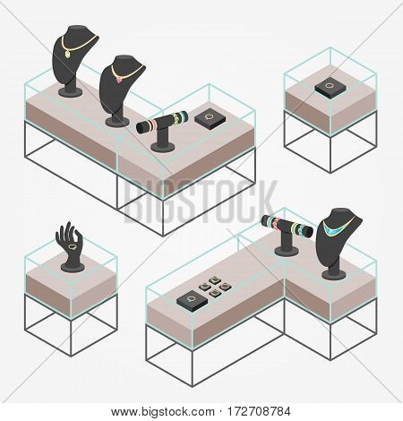 Isometric jewelry shop display mannequins vector illustration.