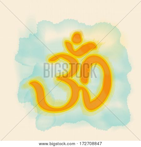 om sign on a blue watercolor background. vector illustration. template banner ticket. print t-shirt.
