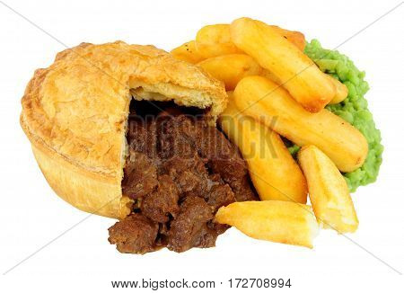 Steak pie and chips meal with mushy peas isolated on a white background