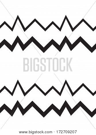Seamless geometrical pattern. Minimalist modern style. Abstract mountains. Zigzag. It is black white colors.