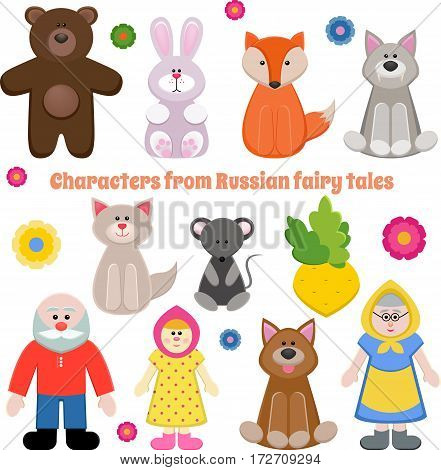 Set of characters of Russian fairy tales.