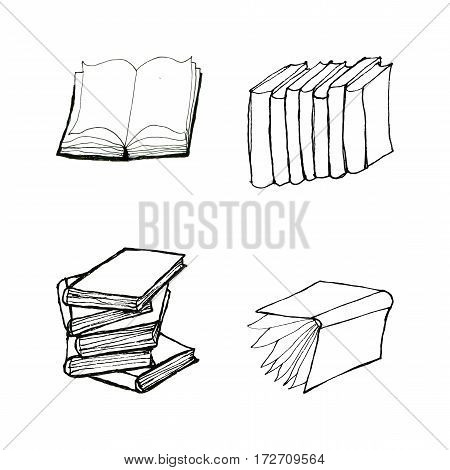 Book doodles collection. Hand drawn black and white set. Reading and education concept.