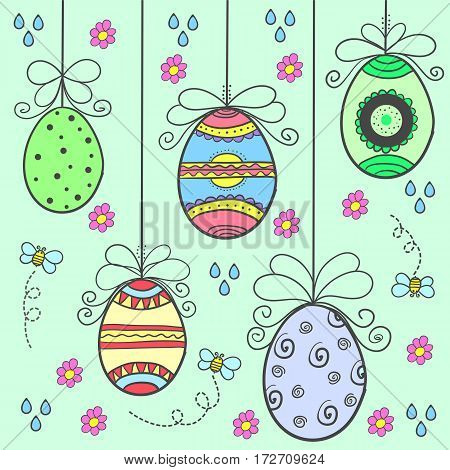 Doodle of easter egg style design vector flat