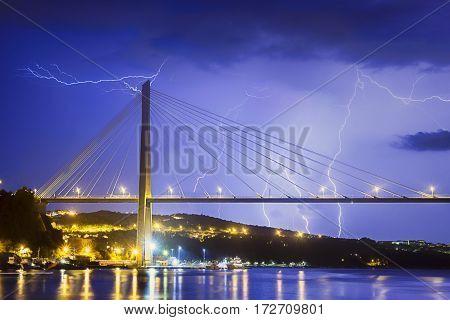 A shot of lightning striking the Franjo Tudjman Bridge in Dubrovnik, Croatia