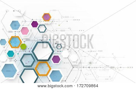 Vector illustration science innovation concept. Circuit board and hexagons or polygon background. Hi tech digital technology. Abstract futuristic hexagon shape on light gray color background