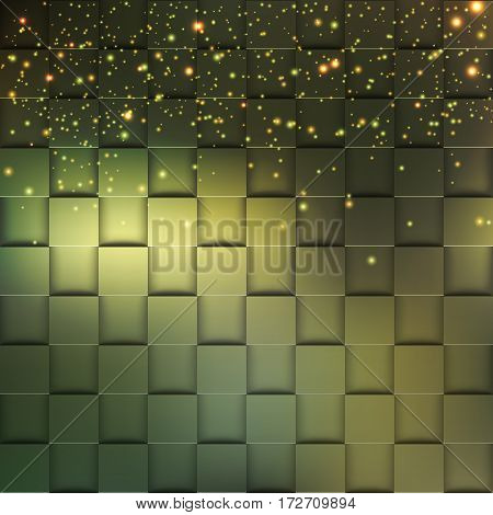 3d square mosaic. Modern colorful texture composed of tiles with magic sparkle to it. Vector illustration eps 10