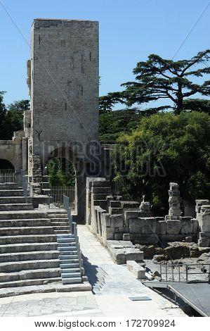 Arles, France - 28 June 2012: The Roman amphitheater of Arles on France