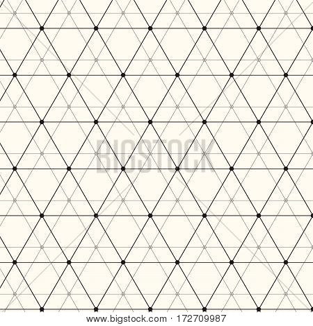 Vector seamless pattern. Modern stylish texture. Repeating geometric background with linear triangles, rhombuses and circles in nodes. Trendy hipster sacred geometry. Eps 10