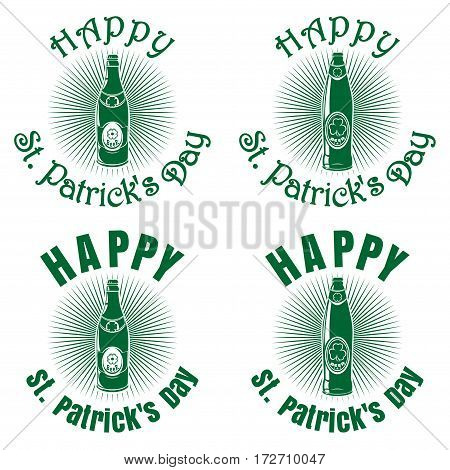 Bottles of different shapes of beer on a background of diverging rays and greeting inscription. Happy St. Patrick's Day. Vector green retro icons isolated on white background. Set 3