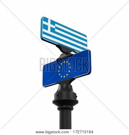 Grexit Direction Sign isolated on white background. 3D render