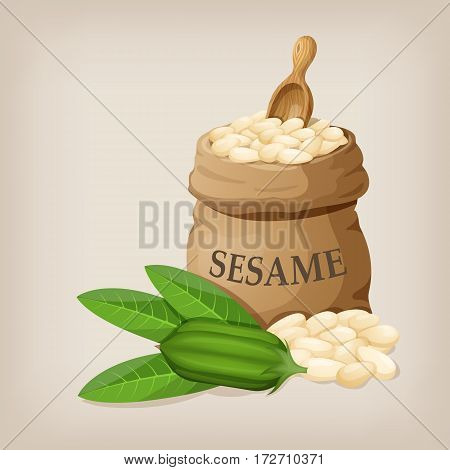 Sesame seeds in sack. Full burlap bag with sesame seeds. Vector illustration