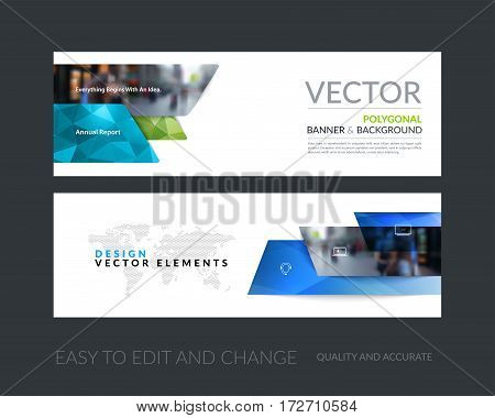 Vector set of modern horizontal website banners with many blue rectangles, stripes for industry, beauty, tech, communication. Clean web headers design with overlay effect.