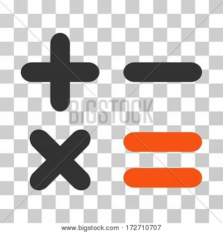 Calculator icon. Vector illustration style is flat iconic bicolor symbol orange and gray colors transparent background. Designed for web and software interfaces.