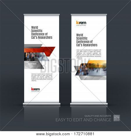 Abstract business vector set of modern roll Up Banner stand design template with many red rectangles, stripes for exhibition, show, exposition, expo, presentation, parade, events.