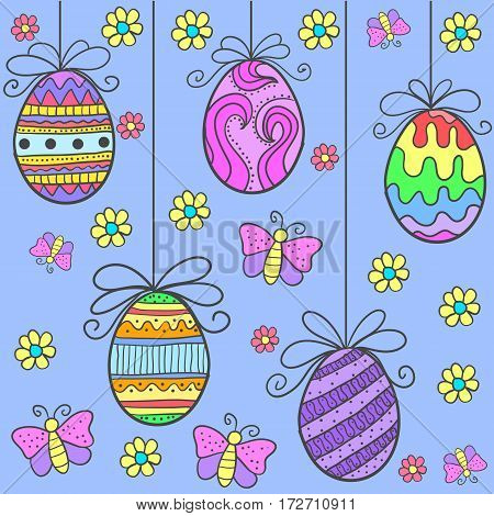 Doodle of easter egg flower and butterfly vector flat
