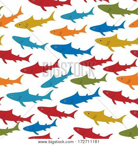 Seamless pattern with orange red blue green sharks Isolated on white background. Vector illustration