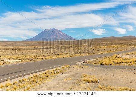 Volcano. The Andes Road Cusco- Puno PeruSouth America. 4910 m above. The longest continental mountain range in the world many active volcanoes. Sacred Valley of the Incas. Mirador de Los Andes Tramo de la Cordillera Vokcanica en Los Andes Centrales