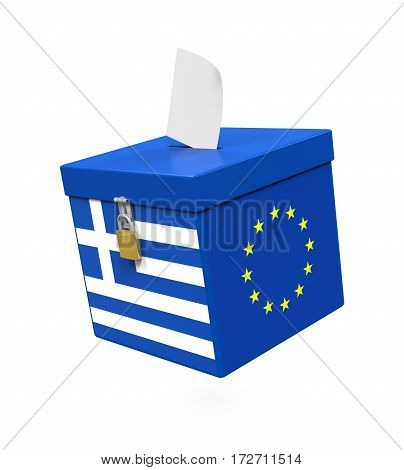 Grexit Ballot Box isolated on white background. 3D render