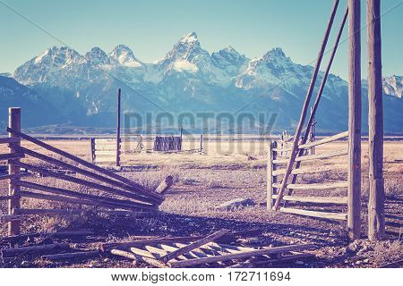 Vintage Stylized Wooden Gate With Mountain View.