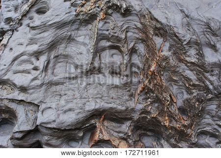 Cliff Face Deposits, Weathering And Coastal Rock Formations