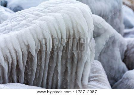 Winter Pattern On The Sea Rocks