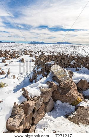 The Andes Road Cusco- Puno PeruSouth America 4910 m above The longest continental mountain range in the world many active volcanoes Sacred Valley of the Incas Spectacular nature of snow mountains and blue sky