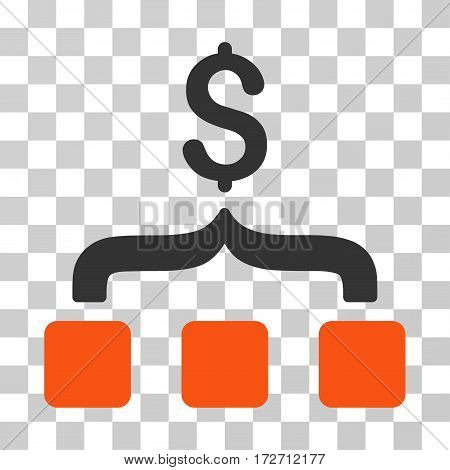 Collect Money icon. Vector illustration style is flat iconic bicolor symbol orange and gray colors transparent background. Designed for web and software interfaces.
