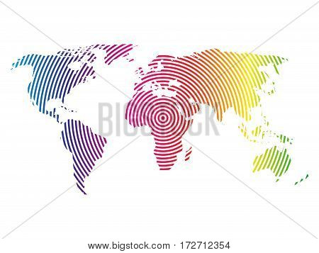 World map of rainbow spectre concentric rings on white background. Worldwide communication radio waves concept Modern design vector wallpaper.
