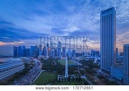 SINGAPORE, SINGAPORE - CIRCA 2016: Singapore Skyline at Sunset