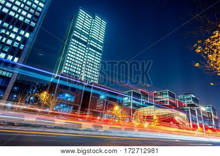 urban traffic road with cityscape in background in ShanghaiChina.
