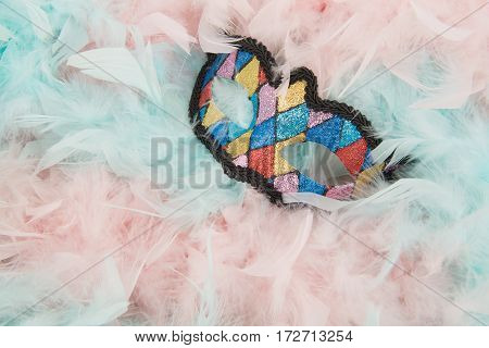 Colorful venetian carnival mask lying in blue and pink pastel colored boa feathers
