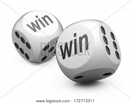 3d white game dices wit win sign. Illustration isolated on a white background