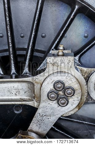 A detailed image steam Engine driving wheel