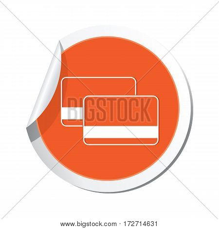 Sticker with bank credit cards sign. Vector illustration