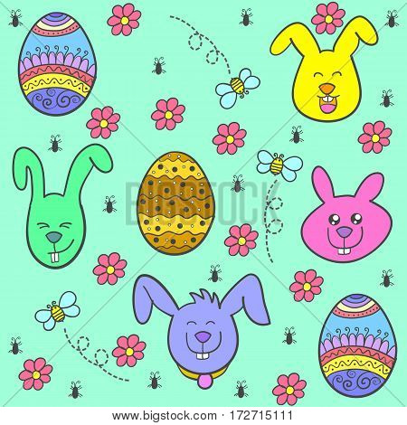 Collection stock easter egg of doodles vector art