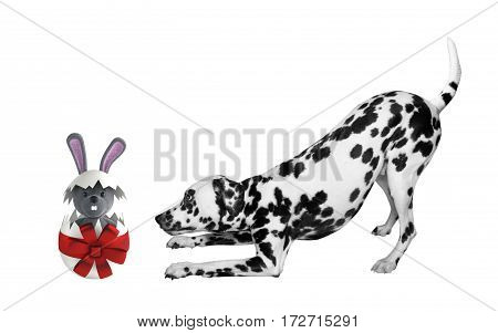 Cute Easter dog with egg rabbit isolated on white background