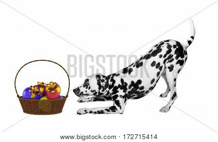 Cute Easter dog with eggs in basket isolated on white background