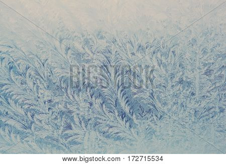 Hoarfrost On The Window In The Cold Winter.