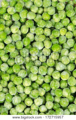 Frozen Green Peas Flat Lay Background