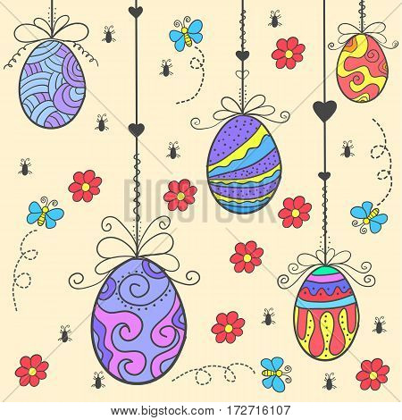 Doodle of easter egg style vector flat collection