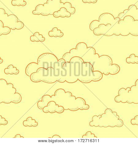 Seamless doodle pattern. Cartoon clouds contour on a yellow background. Vector illustration.