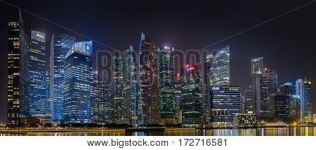 SINGAPORE, SINGAPORE - CIRCA 2016: Downtown Singapore
