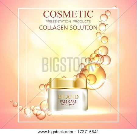 essense and a cream for skin care. 3d vector realistic illustration. The design of cosmetic products. Presentation of face care.