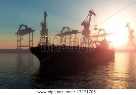 Tanker trucks at the port.,3d render