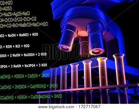 Microscope and test tubes on a black background.,3d render
